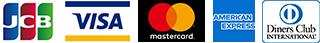 JCB VISA Mastercard AMERICAN EXPRESS Diners Club